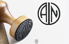 Tampon Mariage Monogramme, Initiales style Art Déco - Mariage Gatsby, Années 20