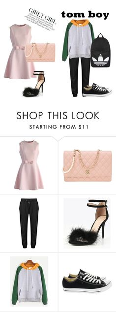 """""""Tom boy vs. Girly Girl"""" by sandrafinn ❤ liked on Polyvore featuring Chicwish, Chanel, Converse and Topshop"""