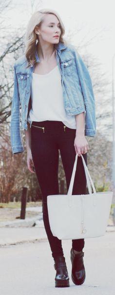 H&m Dark Denim Zip Pockets Skinnies by Petra Karlsson