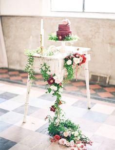 Marsala ruffle cake on a vintage-inspired display