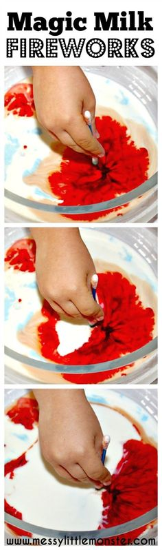 Messy Little Monster: Magic milk fireworks science experiment, bonfire night, new year, art, eyfs, preschoolers