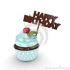 3d sweet cupcake with happy birthday wishes  on background