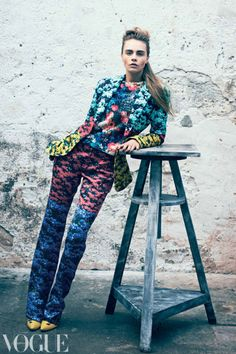 Clashing prints: see Cara Delevingne in Mary Katrantzou and Peter Som Image by Peter Lindbergh