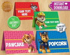 Paw Patrol Table Tents INSTANT DOWNLOAD por ColorPrintsShoppe