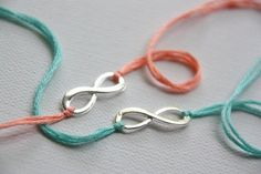 set of 2 personalized silver infinity friendship bracelets: valentine gift (10.00)