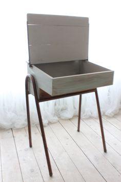 Refurbished 1970's Solid Beech School Desk with Copper painted Tubular Steel Legs.