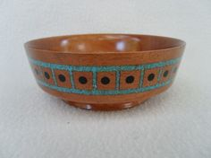 Turquoise and Mahogany Inlayed Bowl by ManuelyMade on Etsy, $75.00