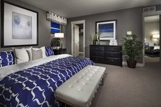 royal blue and white bedrooms | Grey, white and royal blue master suite.. love ... | Dream Home/For t ...