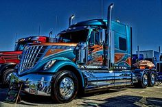 "This 2013 International Semi Truck ""Southern Pride"" was on display at the Heart of America Trucking Show in Kansas City, Kansas."