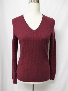 NWOT CHARTER CLUB PETITE Sz PS BURGUNDY 100% CASHMERE CABLE KNIT SWEATER #CharterClub #VNeck #Casual
