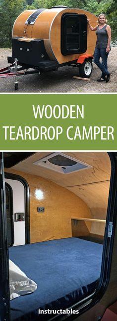 Build a wooden teardrop camper from scratch! Build a wooden teardrop camper from scratch! Teardrop Trailer Plans, Teardrop Camping, Teardrop Caravan, Teardrop Camper Trailer, Diy Camper Trailer, Tiny Camper, Truck Camper, Camper Van, Trailer Build