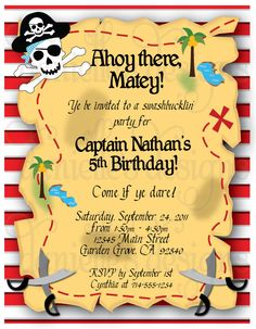 pirate themed birthday party | Pirate Themed Birthday Party Invitations with Envelopes - Treasure Map ...