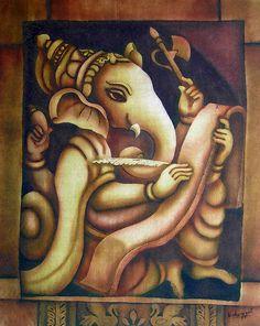 Scholar Ganesh Painting