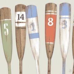 Table Reams Figures 100 x 100 Oar Decor, Nautical Wall Decor, Nautical Home, Beach Interior Design, Beach Design, Painted Oars, Rowing Oars, Fish Art, Coastal Style