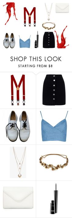 """""""Reds #2: Cherry suspenders"""" by ezilo ❤ liked on Polyvore featuring Brooks Brothers, Miss Selfridge, Dr. Martens, Boohoo, Jennifer Behr, Neiman Marcus and MAC Cosmetics"""