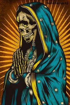 love this image of Santa Muerte and Guadalupe representation