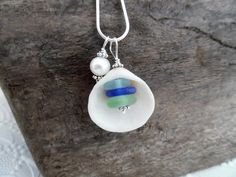 Blue Sea Shell Meer Glas Halskette Schmuck Strand Glas Halskette Anhänger Sterling - Blue Sea Shell Meer Glas Halskette Schmuck Strand Glas Halskette Anhänger Sterling - glass jewelry for your face shape frames makeup glasses Sea Glass Necklace, Glass Earrings, Sea Glass Jewelry, Pendant Earrings, Pendant Jewelry, Seashell Jewelry, Beach Jewelry, Feet Jewelry, Diy Jewelry