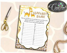 Baby Shower Jungle Giraffe Baby Shower Smart Activity Abc Game ALPHABET GAME, Printable Files, Party Plan, Party Décor - sa001 #babyshowergames #babyshower