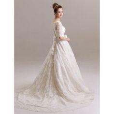 35ccca46c9387 ウェディングドレス A ライン バトーネック レース ボタン ハーフスリーブ シャンパン スウィープ 結婚式 二次会ドレス