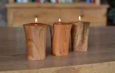 Hand turned wooden tea lights - Jonathan Leech