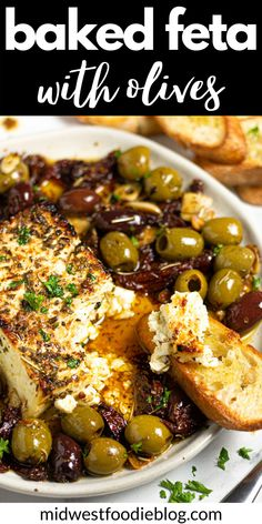 This Baked Feta Appetizer comes together in just minutes with only a handful of ingredients – olives, sun-dried tomatoes, fresh garlic, olive oil, and dried herbs. Bake it all together with a block of feta cheese until it's warm and creamy then serve with crispy crostini! Greek Recipes, New Recipes, Vegetarian Recipes, Cooking Recipes, Favorite Recipes, Healthy Recipes, Recipes With Olives, Vegetarian Appetisers, Vegetarian Tapas