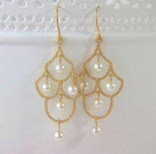Pearl Chandelier Earrings   Pearls, Earrings and Gold chandelier