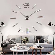 Gran gran kit de reloj de pared sin marco diy 3d espejo plata de la decoración