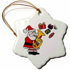 3dRose Fun Santa Claus Playing The Tuba with Christmas Presents  Snowflake Ornament Porcelain 3Inch orn_201780_1 ** This is an Amazon Affiliate link. You can get more details by clicking on the image.