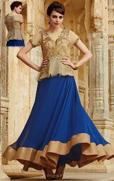 Spectacular Beige and Royal Blue Designer Party Wear Suit