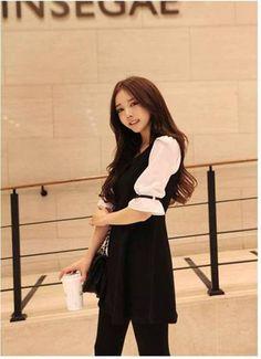 Half-sleeve Patchwork Falbala Chiffon Dress
