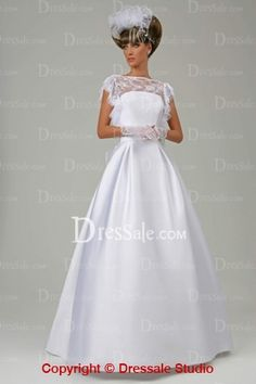 Stylish Satin Bridal Dress Featuring Exquisite Lace