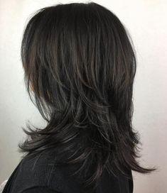 Black Mid-Length Shag Hairstyle