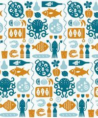 I made a seafood themed pattern for the interior of a new Spanish restaurant in Tokyo. It's always fun to see my illustrations scaled ...