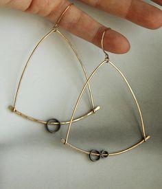 large statement earrings  chandelier earrings  14K gold by lolide, $88.00