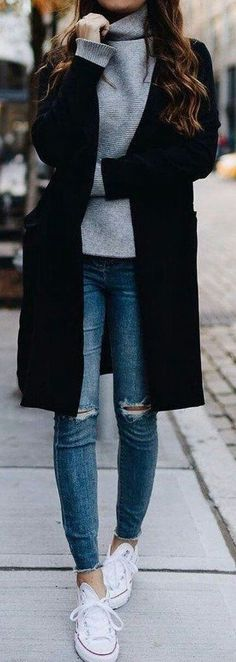 / Gray Turtleneck Sweater + Black Coat The post The Definite Guide to Winter Outfits 55 Outfits To Wear NowWachabuy appeared first on Woman Casual - Woman Dresses Mode Outfits, Winter Outfits, Casual Outfits, Fashion Outfits, Womens Fashion, Dress Winter, Fashion Clothes, Dress Casual, Fashion 2018