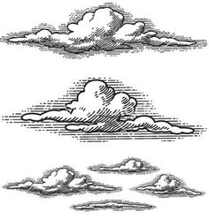 Woodcut Clouds Vector Images (over Vexx Art, Ink Art, Cloud Drawing, Painting & Drawing, Angel Drawing, Cloud Art, Tattoo Drawings, Art Drawings, Landscape Drawings