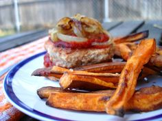 #Paleo BBQ Chicken burgers with crispy sweet potato fries. I made these chicken burgers and they came out really good! Also, sweet potato fries are the bomb.