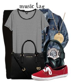 """""""Music Tag"""" by evil-laugh ❤ liked on Polyvore featuring VILA, Gap, Monki, Timex, Michael Kors, Emily & Ashley, Beats by Dr. Dre and Keds"""