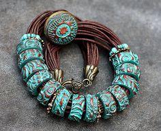 Best 12 Yuhr-bullseye cane tute what it – SkillOfKing. Polymer Clay Bracelet, Polymer Clay Beads, Handmade Polymer Clay, Bohemian Bracelets, Boho Jewelry, Beaded Jewelry, Beaded Bracelets, Necklaces, Jewellery