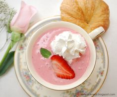 Create something special this Mother's Day with this delicate, lightly sweet and oh so pretty Strawberry Bisque. Strawberry Soup, Strawberry Delight, Fruit Soup, Fruit Dishes, Soup Recipes, Cooking Recipes, Bisque Soup, Chilled Soup, Bon Appetit
