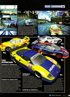 Sega Saturn Magazine #17, March 1997 - A look at the arcade only classic racer, Scud Race! Aka Sega Super GT.  Follow oldgamemags on Tumblr...