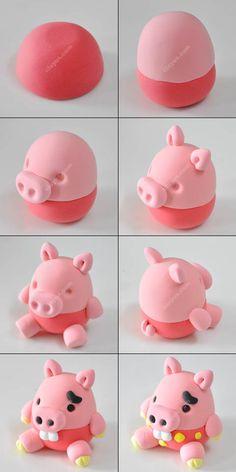 Métodos de produção de argila porco - Design Porco versão criança da etapa