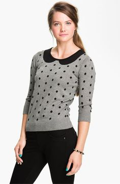 Frenchi® Polka Dot Peter Pan Sweater (Juniors) available at #Nordstrom