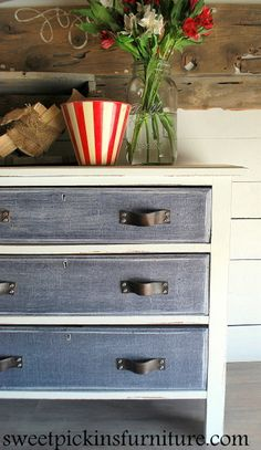 Denim Treatment Dresser with leather pulls