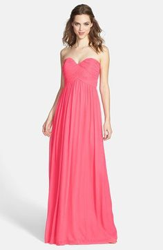 Donna Morgan 'Laura' Ruched Sweetheart Silk Chiffon Gown (Regular & Plus) available at blush, petal or peach fuzz Bridesmaid Dresses Uk, Bohemian Bridesmaid, Maid Of Honour Dresses, Strapless Dress Formal, Formal Dresses, Cute Wedding Ideas, Chiffon Gown, Nordstrom Dresses, Wedding Gowns