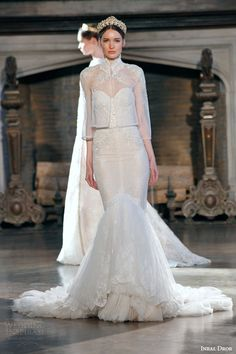 inbal dror bridal fall winter 2015 gown 2 strapless mermaid wedding dress three quarter illusion sleeve high neck sheer jacket