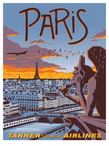 Vintage-style travel poster for Paris by Eric Tan. I like the characterisation of the gargoyle drinking wine - both iconic symbols of the city. Vintage Paris, Pub Vintage, Photo Vintage, Vintage Style, Design Vintage, Vintage Kitchen, Vintage Decor, Posters Decor, Kunst Poster