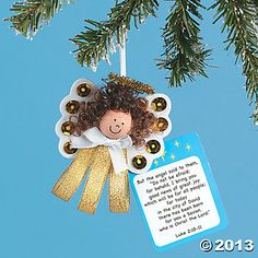 Angel Ornament Craft | Ribbon Angel Ornament Craft Kit - Oriental Trading - Discontinued