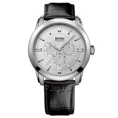 636574f674e BOSS HUGO BOSS Attraction Chronograph Stainless Steel Case on Black Leather  Strap