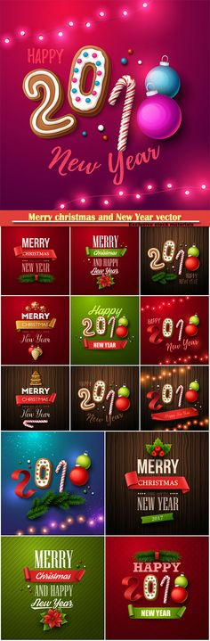 Download Merry christmas and New Year vector greeting card2 Free